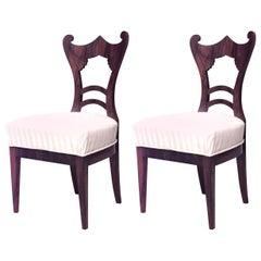 Pair of Austrian Biedermeier Cherrywood Side Chairs
