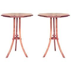Pair of Swedish Biedermeier Inlaid Birch End Tables