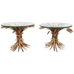 Pair of French Gilt Metal Sheaf of Wheat Occasional Tables