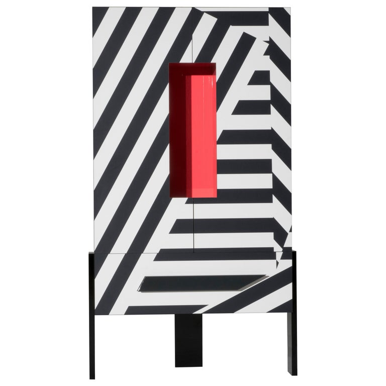Ziqqurat High Cabinet in Black and White Pattern with Red Detail by Driade Lab
