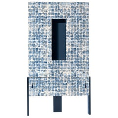Ziqqurat High Cabinet in Traccia Blue and White Pattern by Driade Lab
