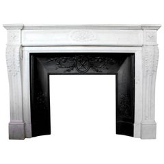 19th Century French Louis XVI Style Carrara Marble Mantel