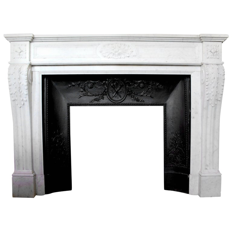 19th Century French Louis XVI Style Carrara Marble Mantel For Sale