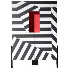 Ziqqurat Low Cabinet in Black and White Pattern with Red Detail by Driade Lab