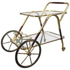 Italian Mahogany and Brass Drinks Cart, circa 1960