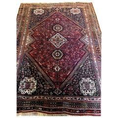 Large Vintage Tribal South Persian Shiraz Carpet