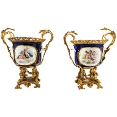 Pair of Bronze Mounted Sevres Style Cachepots