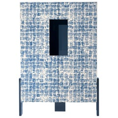 Ziqqurat Low Cabinet in Traccia Blue and White Pattern by Driade Lab