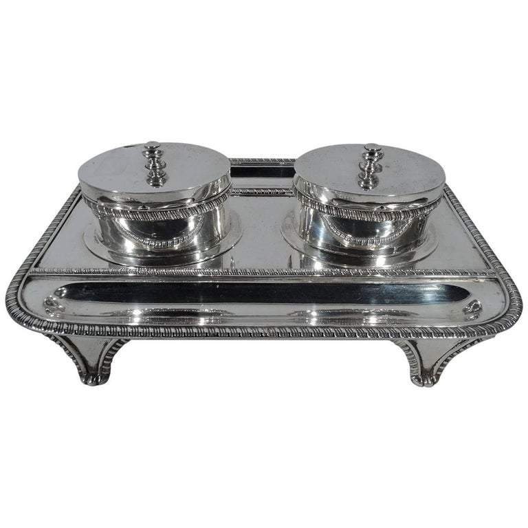 Antique Scottish Sterling Silver Double Inkwell Stand