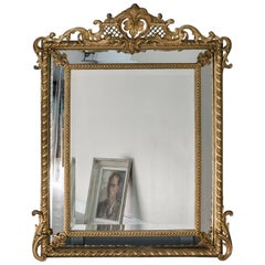 Antique French Louis XVI Style Pareclose Mirror, France, 1880