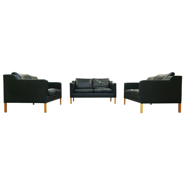 Stouby Black Leather Settees in the Style of Børge Mogensen, Set of Three