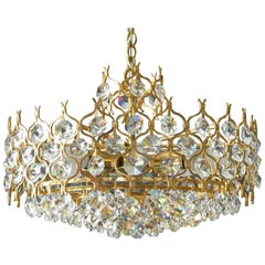 1970s Palwa Brass Chandelier Pendant with Faceted Crystal Stones