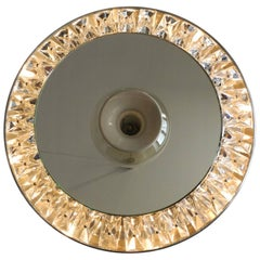 Extra Large 1960s Round Illuminated Crystal Glass Wall Mirror Kinkeldey