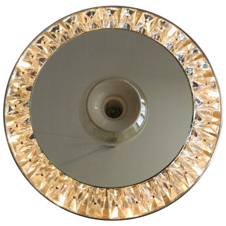 Extra Large 1960s Round Illuminated Crystal Glass Wall Mirror Kinkeldey
