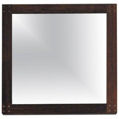 Rare Swedish Rosewood Mirror with Silver Detail by Uno & Östen Kristiansson