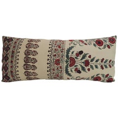 19th Century Indian Qalamkar Floral Decorative Bolster Pillow