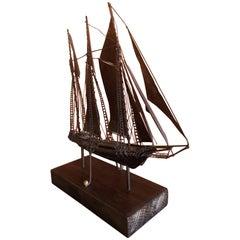 Midcentury Metal Ship on Wood Base