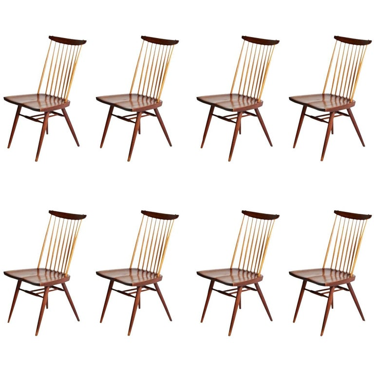 """George Nakashima """"New"""" Chairs, Set of Eight, Authenticated 1960s Production"""