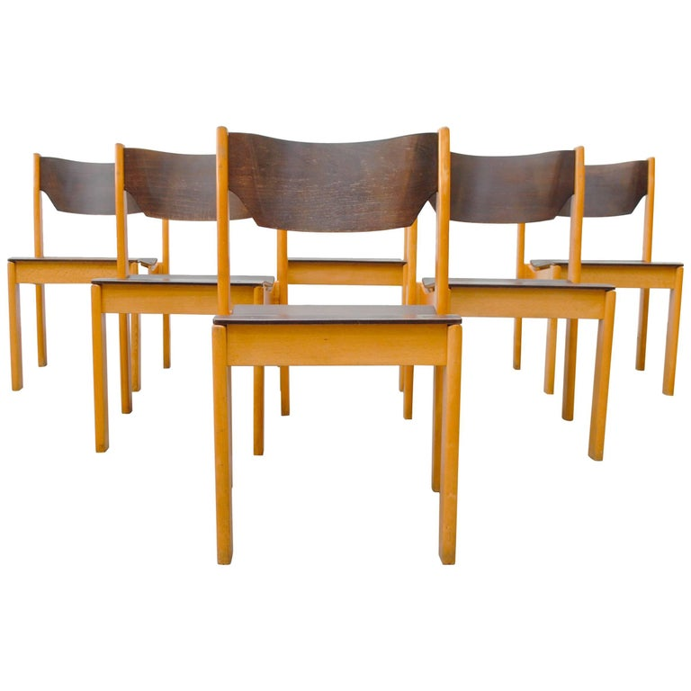 Alvar Aalto Style Two-Toned Stacking Chairs