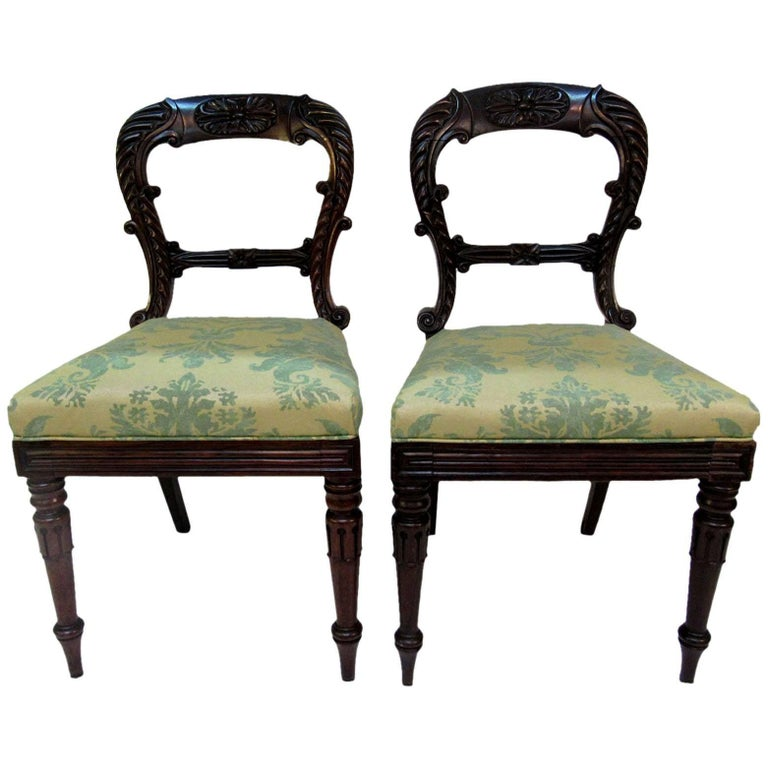 Pair of Late 19th Century English Regency Side Chairs