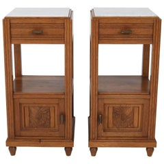 Pair of French Oak Art Deco Night Stands with Marble Tops, 1930s