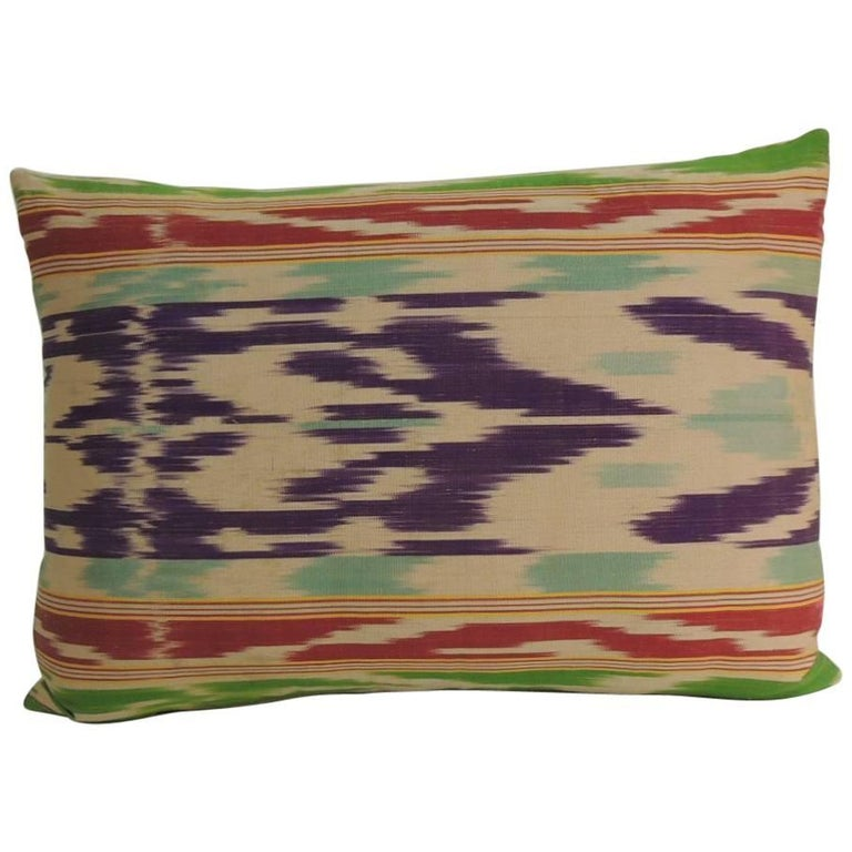 Antique Colorful Silk Ikat Decorative Lumbar Pillow