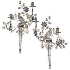 French Silver Plated Double Light Sconces with Birds, Set of Six