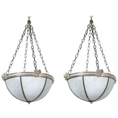 Pair of Silver Plated Caldwell Leaded Glass Light Fixtures with Interior Lights