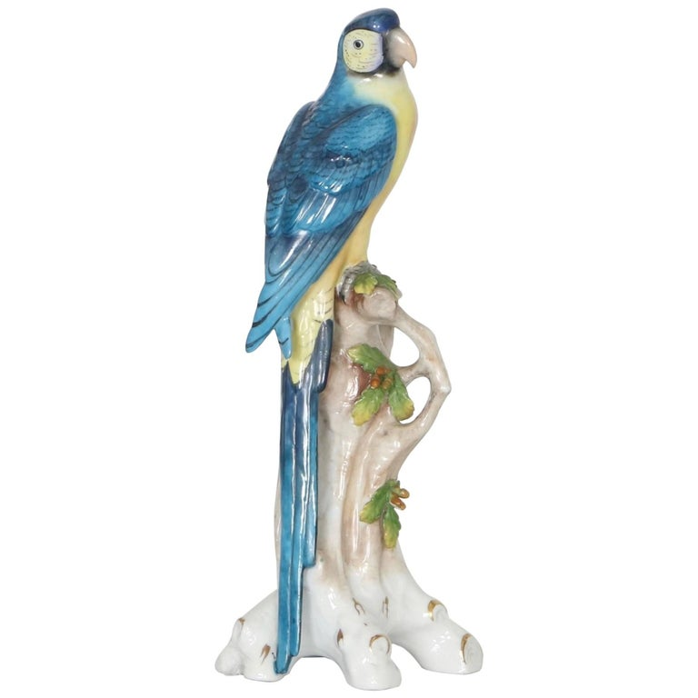 English Chelsea House Parrot in Porcelain