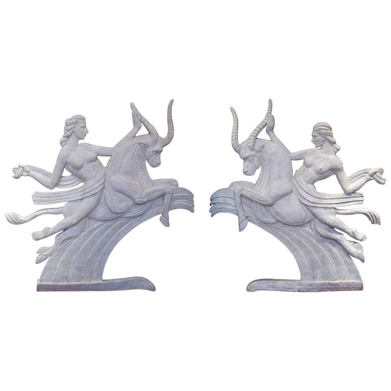 Dramatic Pair of American Art Deco Relief Panels of Europa's Abduction by Zeus
