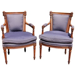 Pair of French Louis XVI Fauteuils, 19th Century