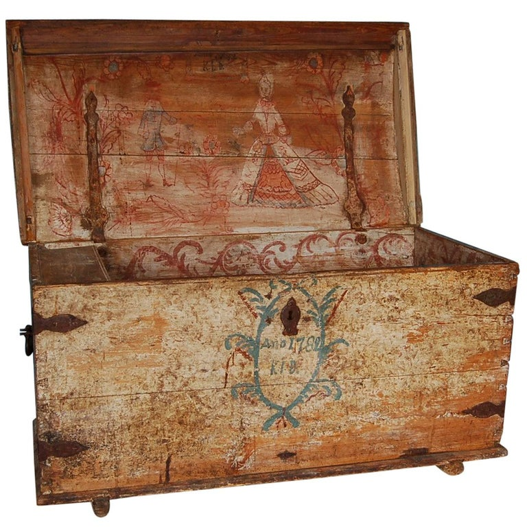Swedish Allmoge Dowry Chest with Exceptional Interior Painting, Dated 1782