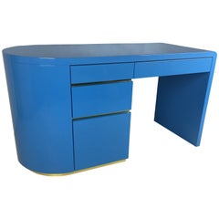 French Blue Lacquer 1980s Writing Desk with Brass Trim