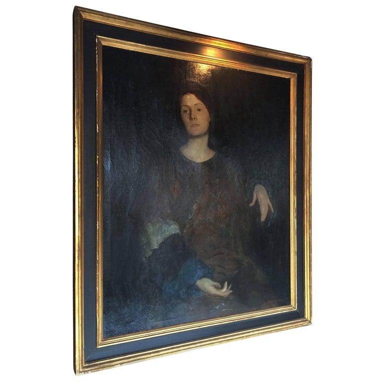 "Rutledge Bate 1920 Oil Painting ""Portrait of a Woman"""