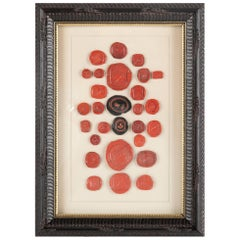 Red and Black Wax Intaglio Seal Collection, Set of Four