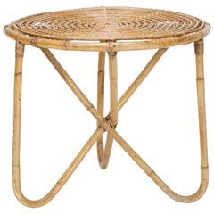Italian Bamboo Coffee Table Georges Coslin, 1950s