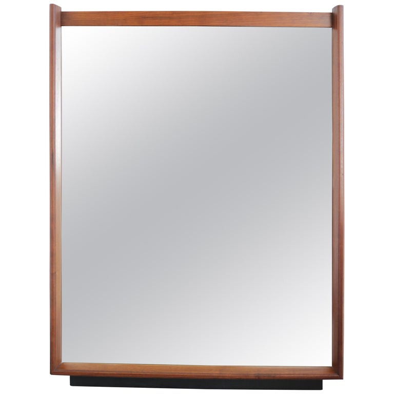 Midcentury Walnut Framed Mirror For Sale