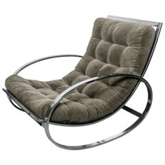 Renato Zevi Ellipse Rocking Chair and Ottoman, in the style of Milo Baughm