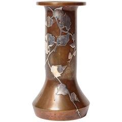 Heintz Arts & Crafts, Art Nouveau Vase with Sterling Overlay on Patinated Bronze
