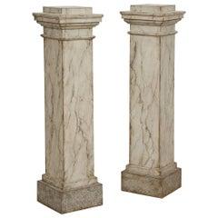 Rare Pair of Fine Swedish Gustavian Pedestals, Faux Marbleized Finish, Ca. 1795