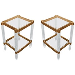 Pair of Metric Side Tables in Brass and Lucite by Charles Hollis Jones