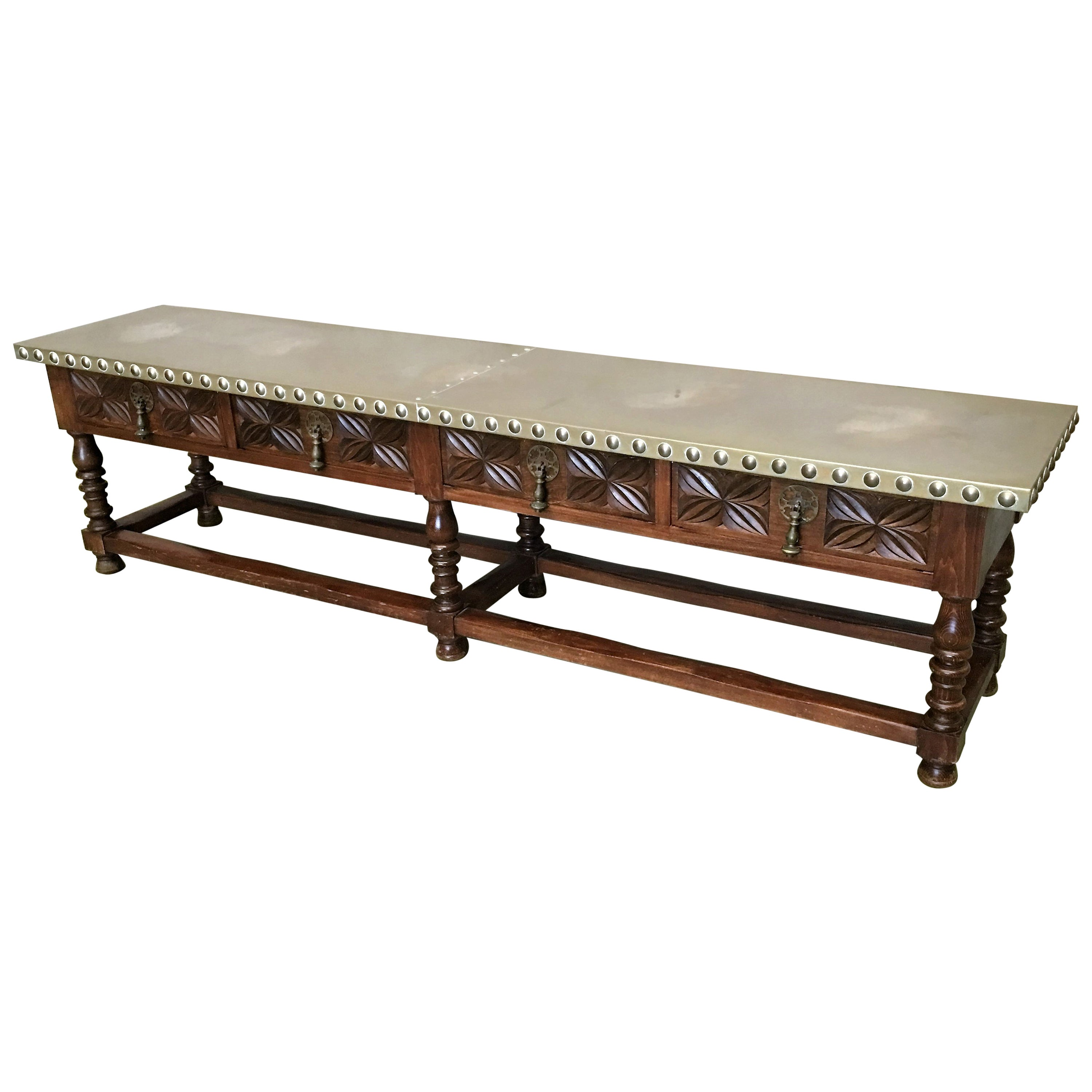 19th Bench Or Console Table With Zinc Top And Four Drawers Handles At 1stdibs