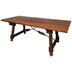 18th Spanish Refectory Desk Table with Solomonic Legs and Iron Stretcher