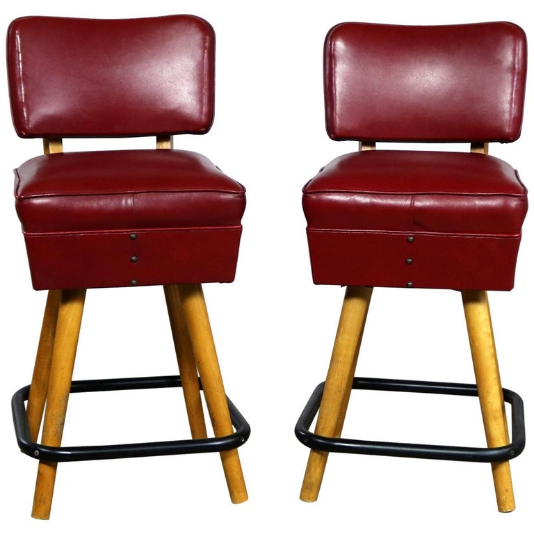 Pair of Midcentury Red Vinyl and Blonde Counter Height Bistro Bar Stools by WCI