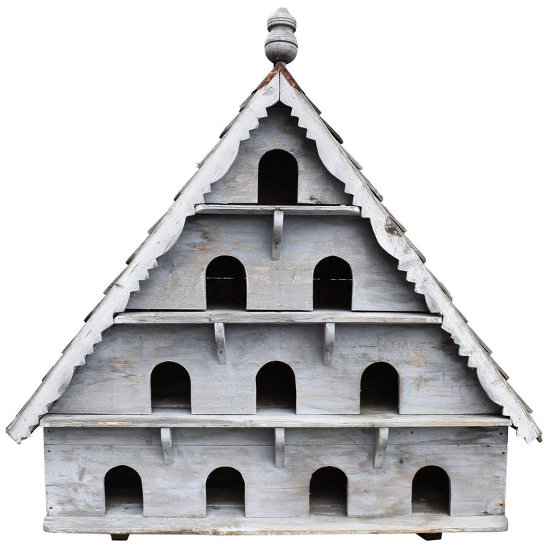 Large Vintage English Wooden Birdhouse For Sale