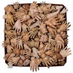 One Hundred Late 19th-Early 20th Century Doll Hands on Stand