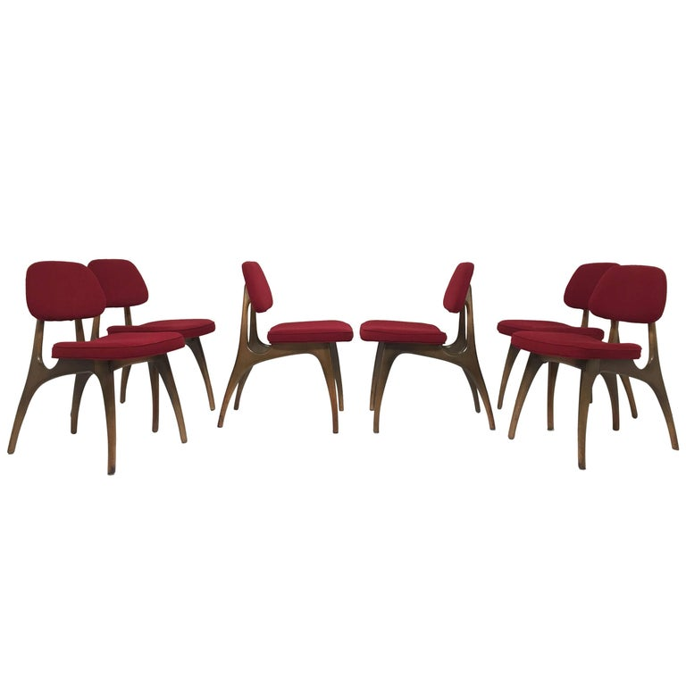 Set of Six Vladimir Kagan Style Midcentury Dining Chairs