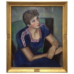 Oil Portrait of a Lady by Philena Lang, circa Mid-1930s
