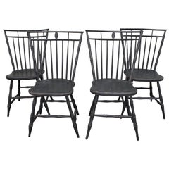 19th Century Birdcage Windsor Chairs in Windsor Green, Set of Four