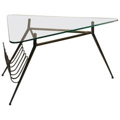 Italian Midcentury Brass Magazine Rack Table